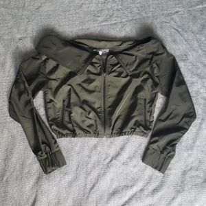 F21 Off the Shoulder Cropped Windbreaker